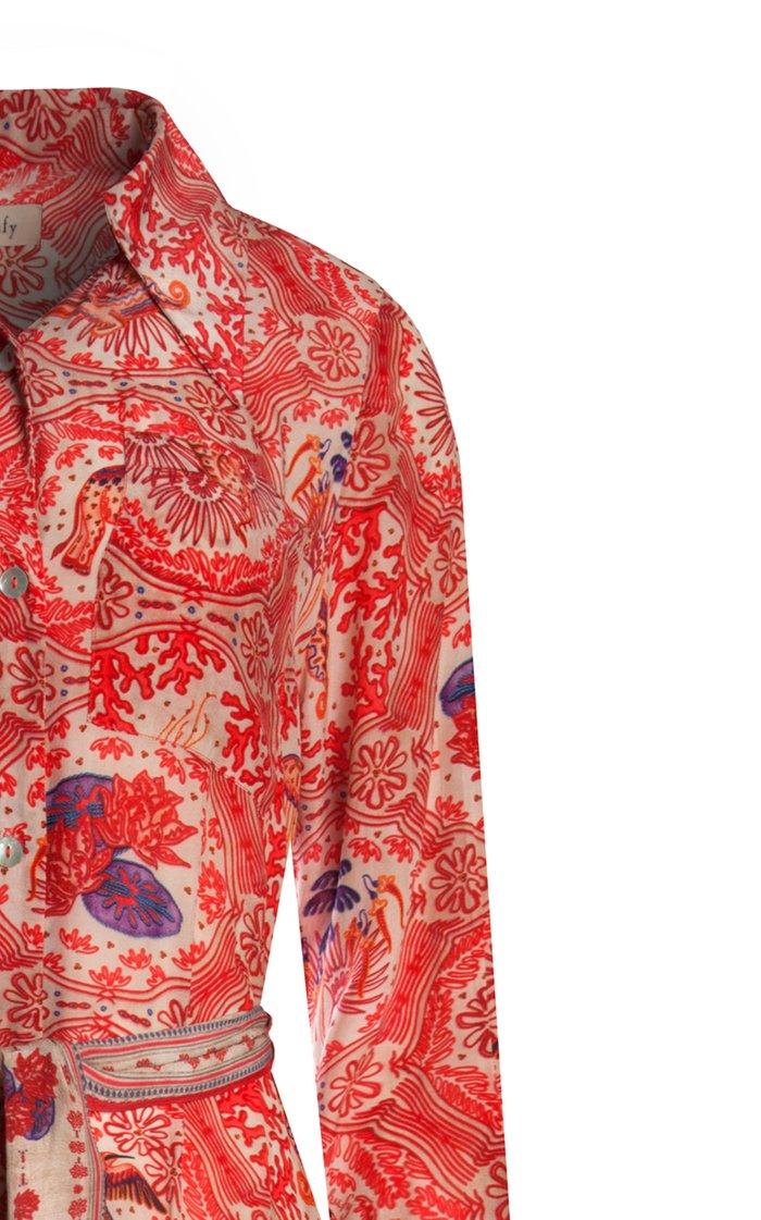 Win Printed Crepe De Chine Maxi Shirt Dress