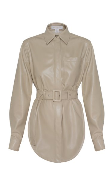 Belted Vegan Leather Shirt Eco Open Back