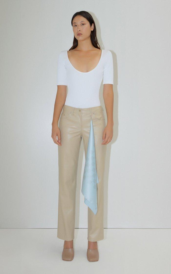 Vegan Leather Straight-Leg Handkerchief Pants