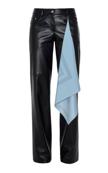 Vegan Leather Straight-Leg Handkerchief Pants