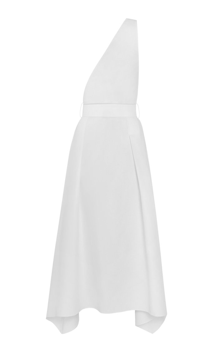 Slashed Belted Linen-Blend Dress