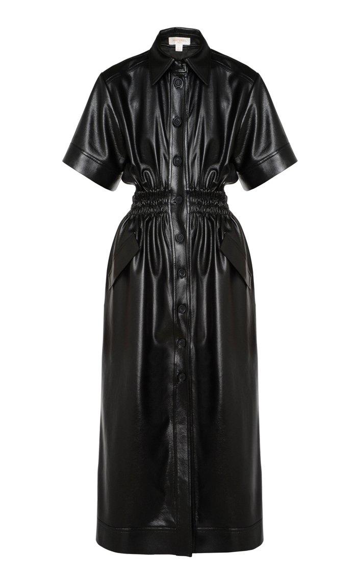 Vegan Leather Shirt Dress