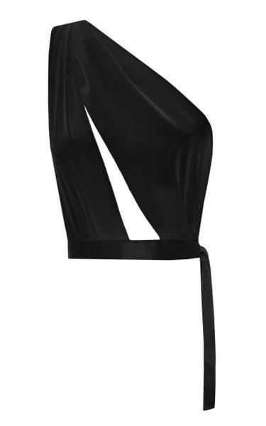 Slashed Asymmetric Silk-Satin Top