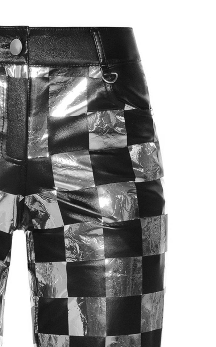 Flexy Chess Vegan Leather Straight-Leg Pants
