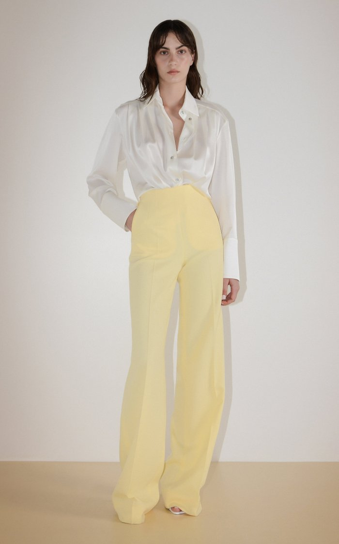 Structured Crepe Flared Pants