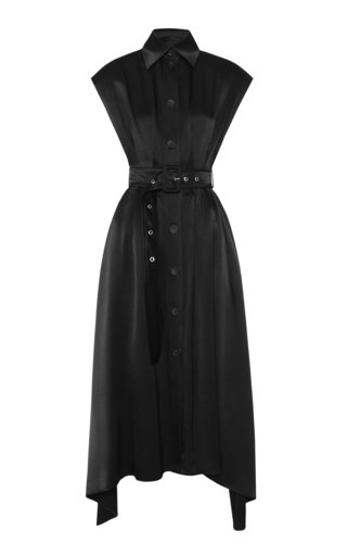 Belted Asymmetric Satin Dress