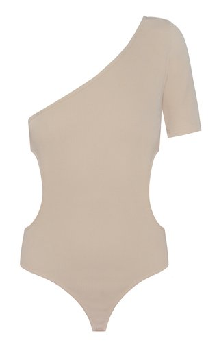 Ribbed Knit Cutout Cotton Bodysuit