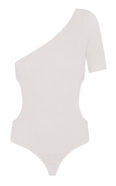 Asymmetric Ribbed Knit Bodysuit