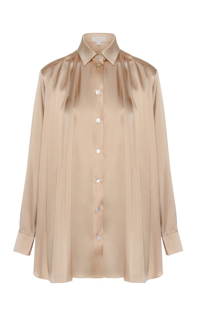 Silk-Blend Button-Down Shirt