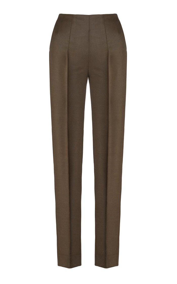 Tropical Wool-Blend Skinny Pants