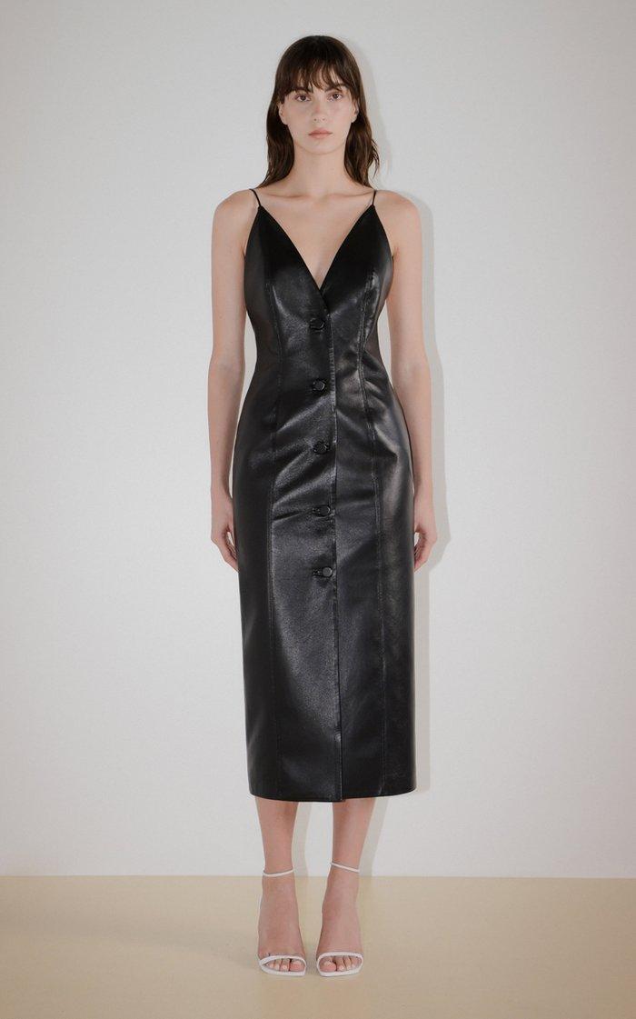 Vegan Leather Button-Down Dress