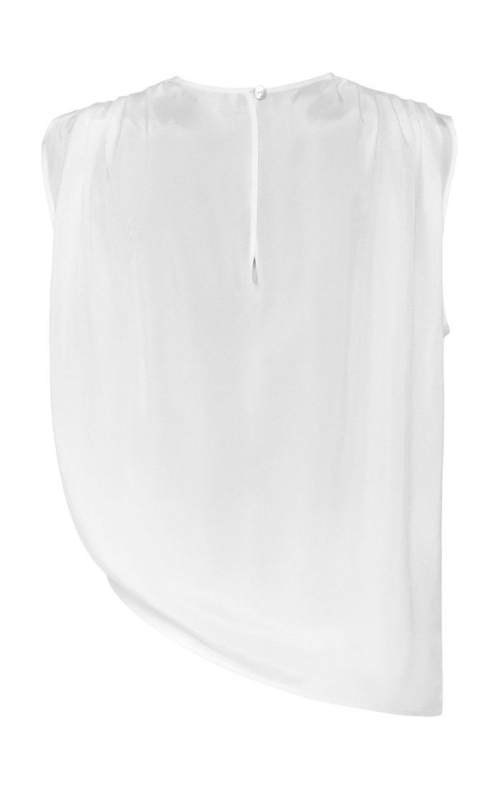 Asymmetric Silk-Blend Tank Top