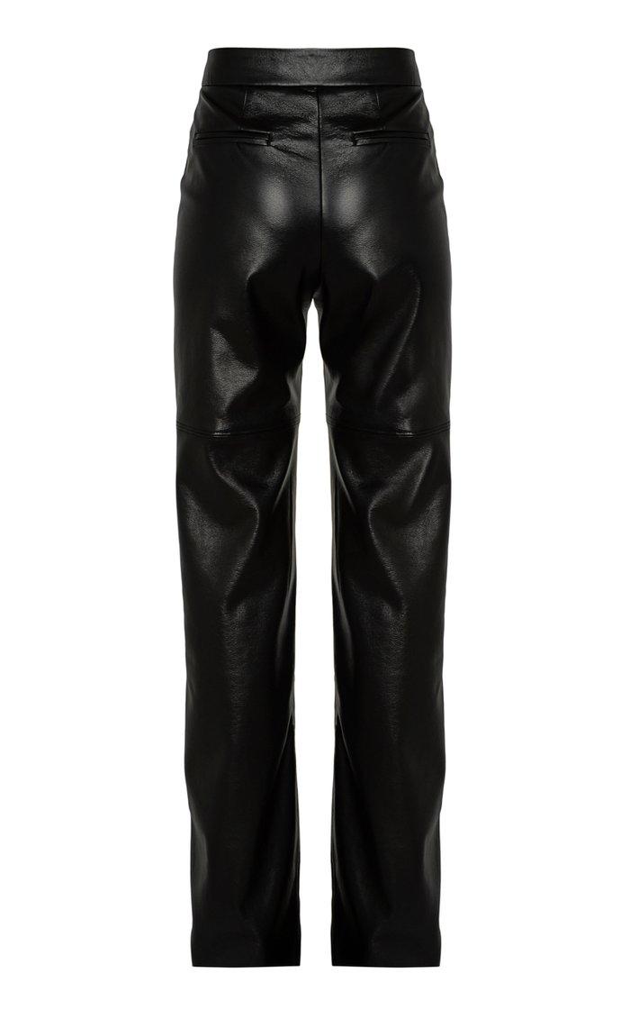 Vegan Leather Wide-Leg Slouch Pants