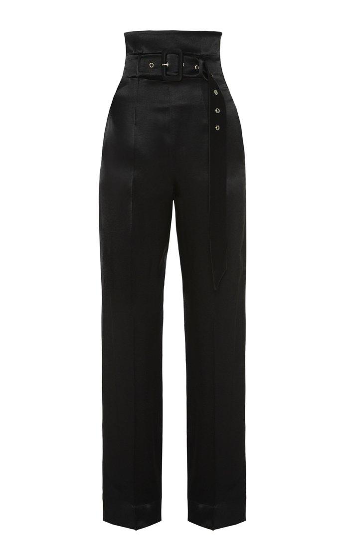 Satin High-Rise Straight-Leg Pants