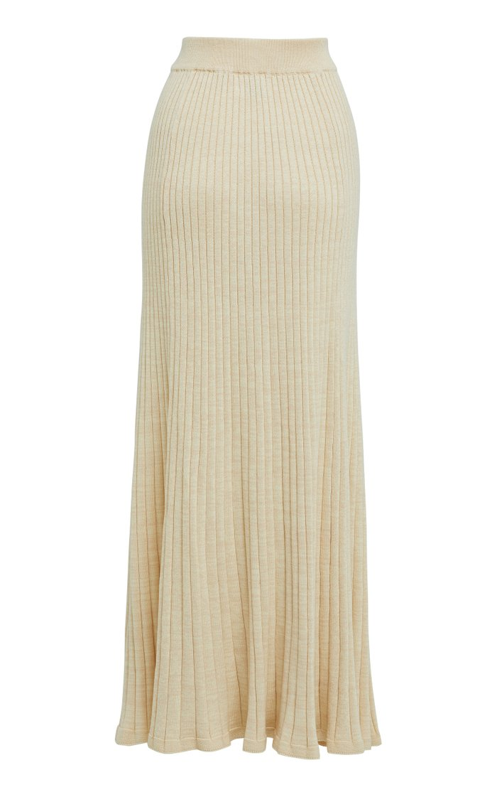 Hettie Cotton Ribbed-Knit Maxi Skirt