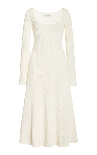 Vesna Ribbed-Knit Cotton Midi Dress