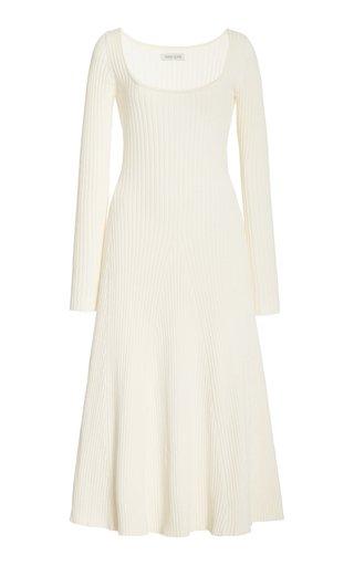 Vesna Ribbed-Knit Cotton Midi Dress