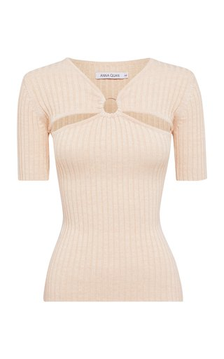 Ary Cutout Ribbed-Knit Cotton Top