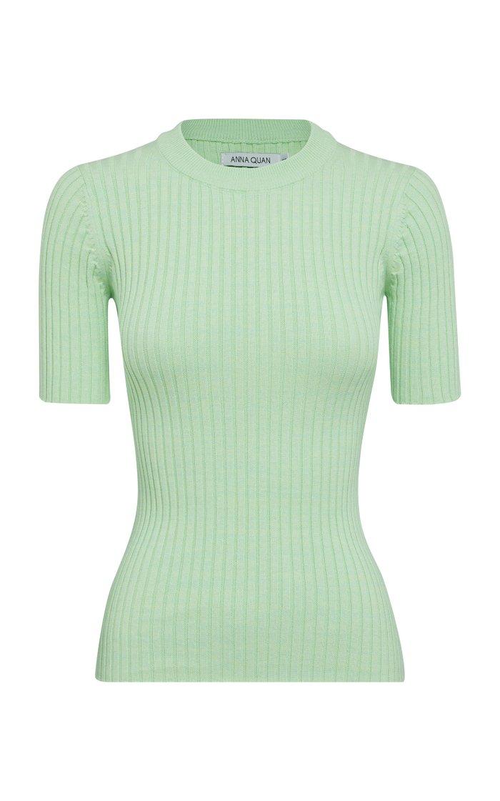 Bebe Cotton Ribbed-Knit Top