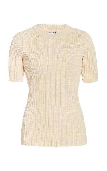 Bebe Ribbed-Knit Cotton Top