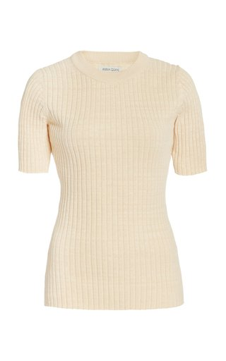 Bebe Ribbed-Knit Cotton Top