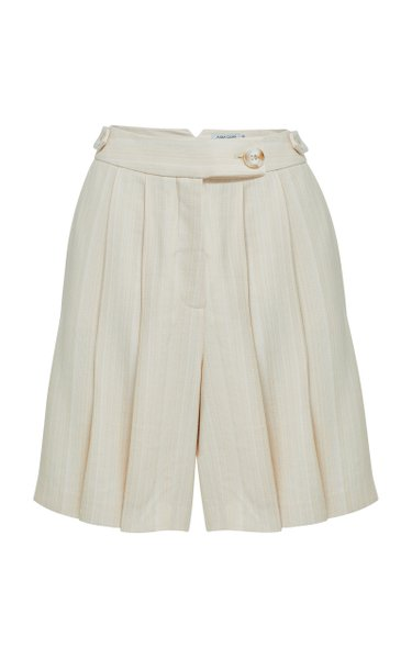 Vita Pleated Striped Twill Shorts