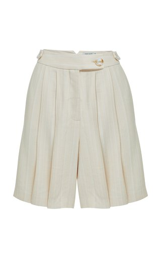 Vita Pleated Striped Twill Shorts