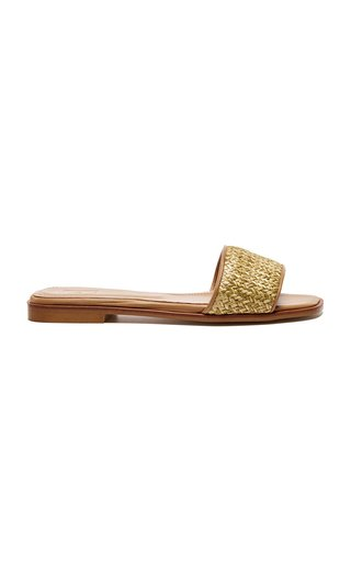 Marley Straw and Leather Slides