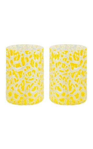 Set Of 2 Cracklè Lemon Glasses