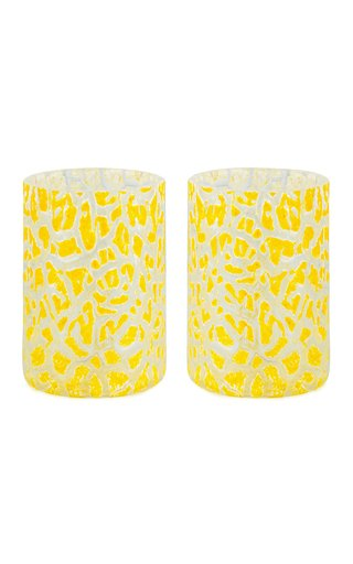 Set Of 2 Cracklè Lemon Glasses