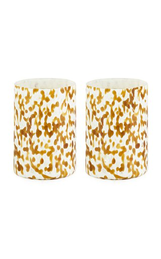 Set Of Msm 2 Ivory & Amber Glasses