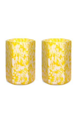 Set Of 2 Hexagonal Msm Ivory/Yellow Glasses