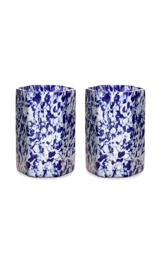 Set Of 2 Hexagonal Msm Ivory/Blue Glasses