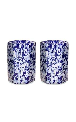 Set Of 2 Hexagonal Msm Ivory/Blue Glasses