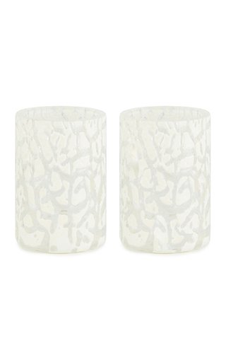 Set Of 2 Cracklè Chalk Glasses