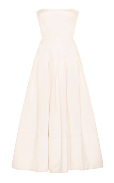 Landon Duchess Silk Satin Strapless Midi