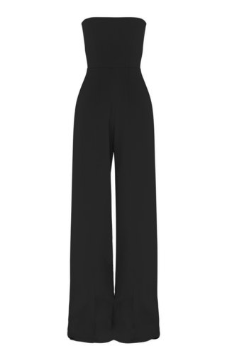 Mandel Stretch Crepe Strapless Jumpsuit