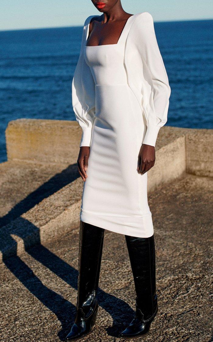 Pearson Balloon-Sleeve Satin-Crepe Midi Dress