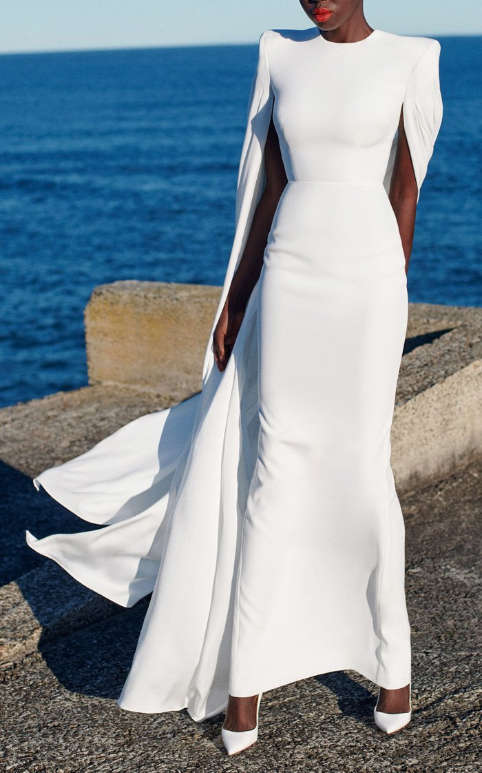 Alder Satin Crepe Cape Sleeve Column Gown