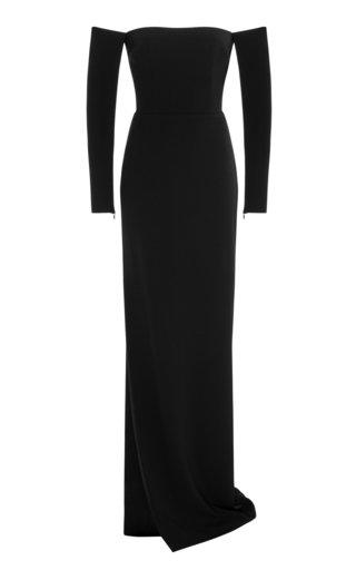 Delaine Satin-Crepe Off-The-Shoulder Column Gown