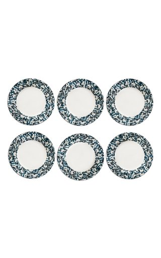Macchia Su Macchia Set Of 6 White & Blue Plates