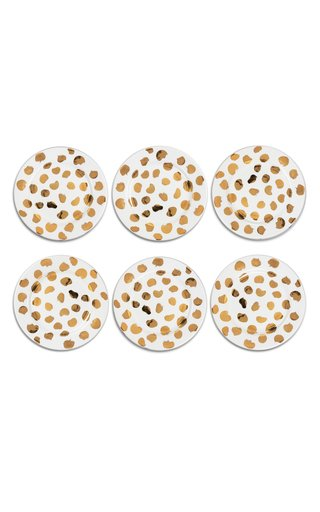 Ladybug Set Of 6 Gold Plain Plates