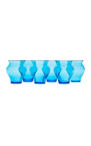 Anfora Set Of 6 Aquamarine Glasses