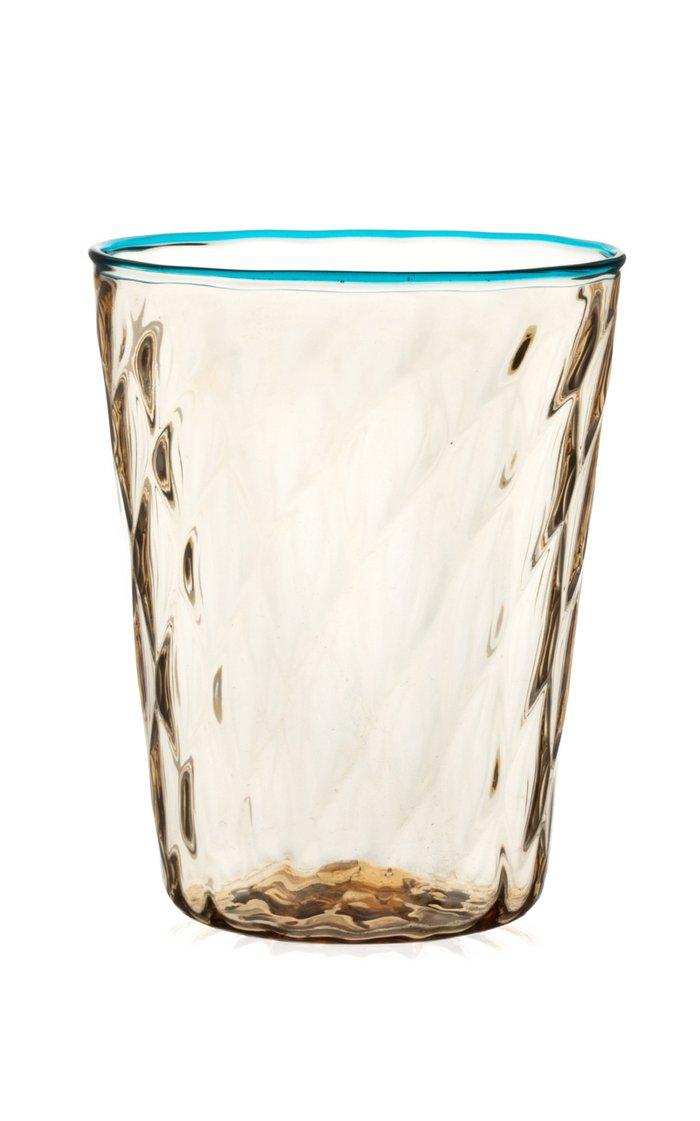 Set Of 2 Water Glasses Ballotton Fume' Aquamarine Rig