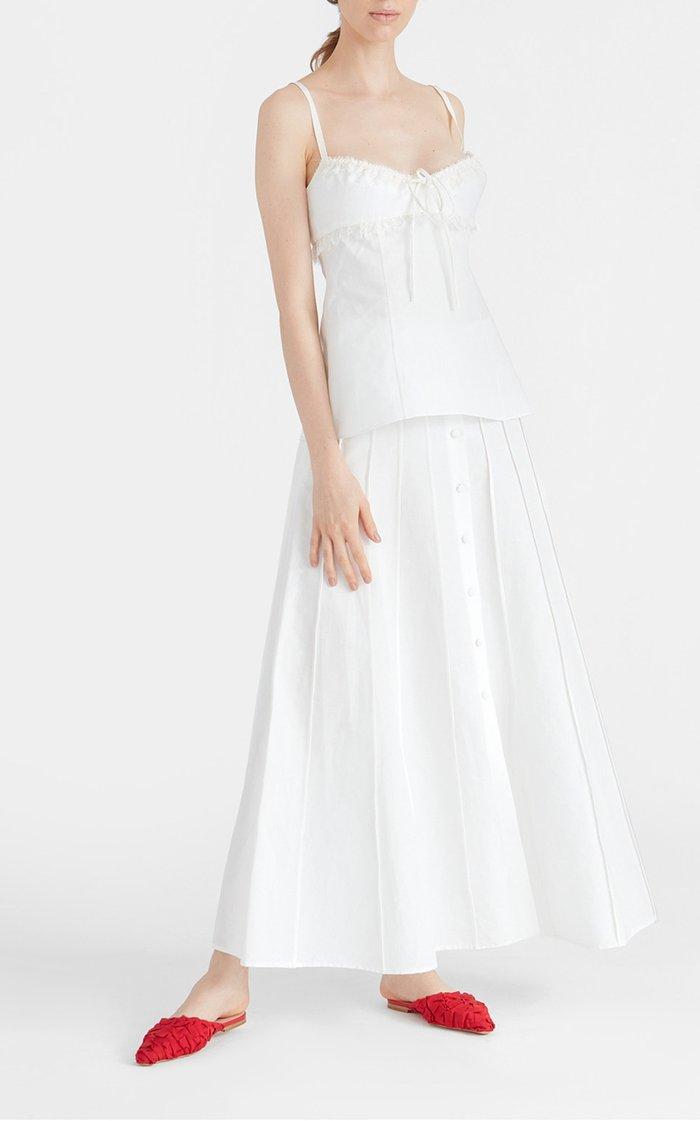 Sonia Pleated Cotton-Linen Maxi Skirt