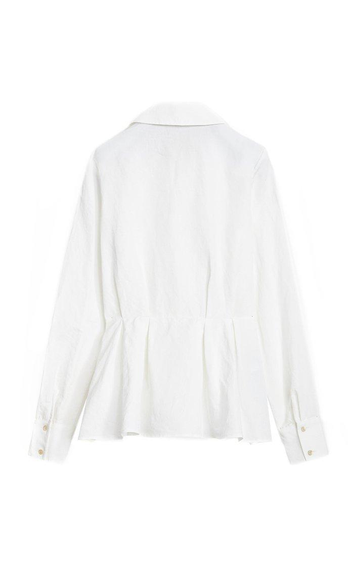 Silvana Cotton-Linen Peplum Shirt