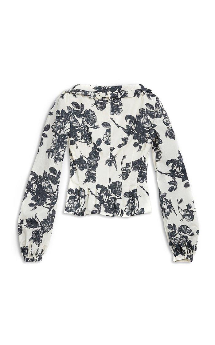 Sabrina Peplum-Waist Floral Cotton Cropped Jacket