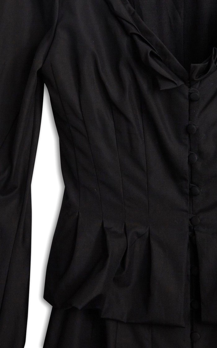 Stefania Peplum-Waist Cotton Midi Shirt Dress