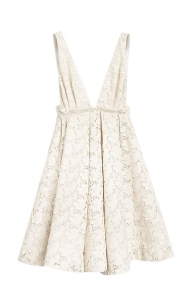 Quesyn Bow-Detailed Cotton-Blend Lace Mini Dress