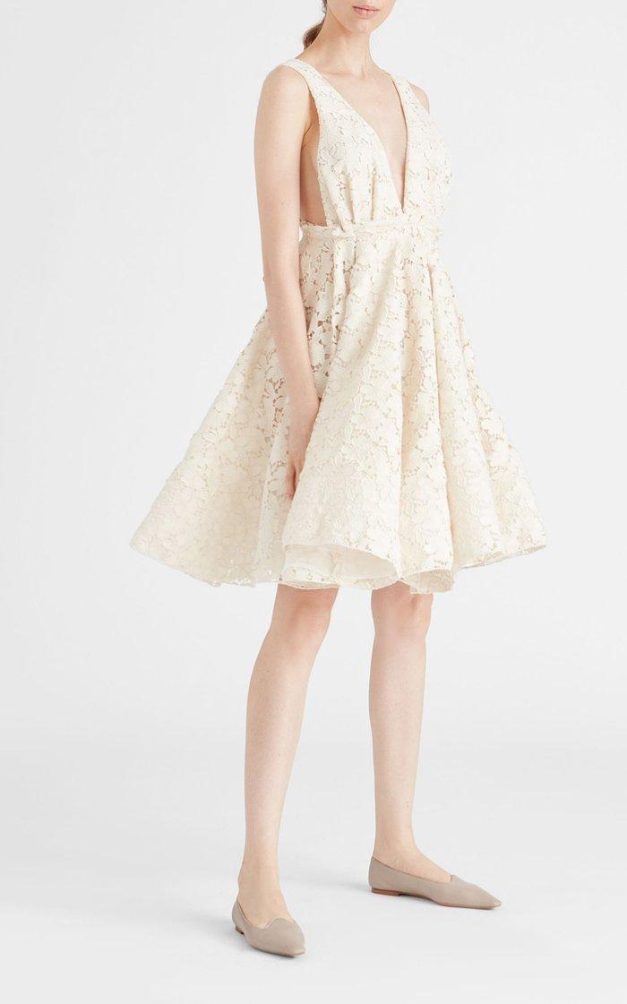 Quesyn Bow-Detailed Cotton-Blend Lace Mini Dress